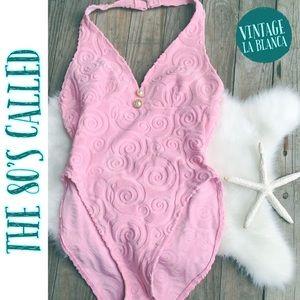 Vintage 80s LA Blanca 1 Piece Terry Swimsuit Pink